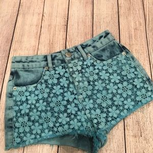 Topshop Floral Lace Denim Shorts
